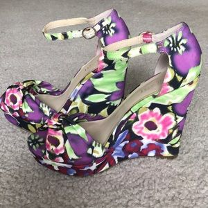Floral Wedge Open-toe Heel